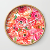 Bed of Roses Wall Clock by Allison Reich