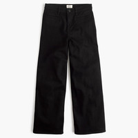 J.Crew Womens Petite Rayner Wide-Leg Jean In Black