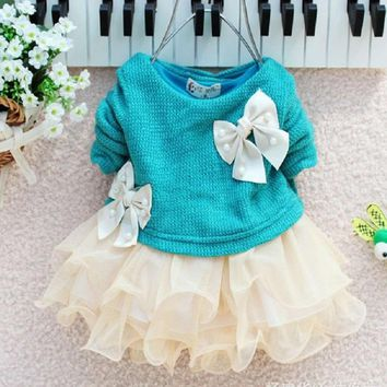 New Lovely Infant Toddler Baby Girl Dress Knittted Sweater Top Bow Tulle Tutu Dresses Outfit Princess Party Marry Autumn Costume