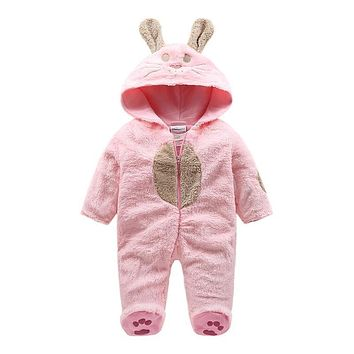 2018 fleece Baby Animal Jumpsuit rabbit style baby romper , newborn infant Baby Funny Clothes Cute Newborn Baby Boy Clothes