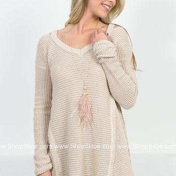 Bleached Almond Distressed Sweater