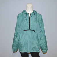 Vintage 1990's GAP Anorak Pullover Nylon Jacket with Hood and Front Pocket Hoodie Turquoise Size Medium Windbreaker Rain Jacket Drawstring