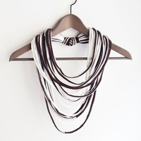 Brown off-white necklace neck ornament loop scarf infinity scarf round scarf