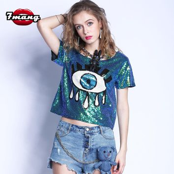 7mang 2017 summer women street fashion cartoon eye sequins t shirt sexy silver gold green party t shirts