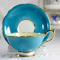 Aynsley Turquoise Oban Shaped Teacup and Saucer, Vintage Bone China, Signed D Jones 12527