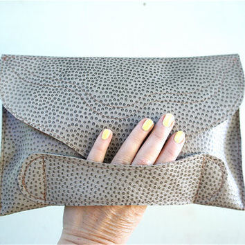 SAMPLE///Embossed Stingray Brown Leather Clutch with Handle