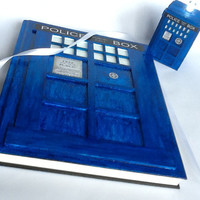Customized TARDIS Wedding Guest Book, Doctor Who Wedding Guest Book, Police Phone Box Wedding Guest Book 5X8