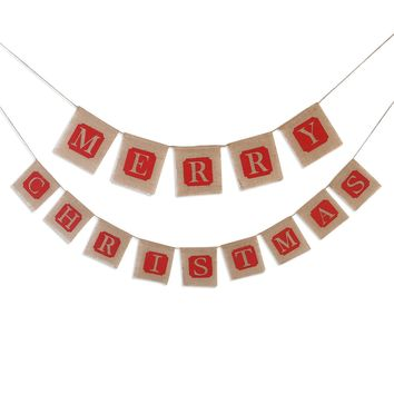 Merry Christmas Jute Burlap Banners Garlands for Holiday Decoration