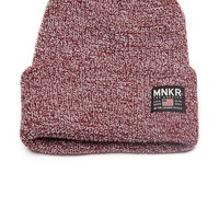 MNKR Knit Watch Cap Marled Burgundy