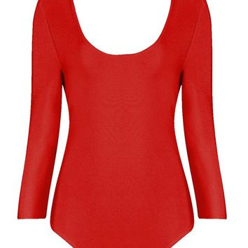 Honey Couture ALLIE Long Sleeve Red Bodysuit and Detachable Choker