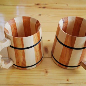 Wooden Mug Wooden Beer Mug 0.5 l (16.9 oz) Mug  Gift for men Gift for boyfriend Wooden Glasses Souvenir