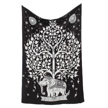 200x145cm Indian Mandala Elephant Tree Tapestry Wall Hanging Polyester Bedspread Throw Blanket Home Room Decorative Crafts