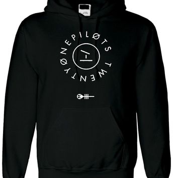 NEW TWENTY ONE PILOTS 21 CLIQUE PRINTED UNISEX HOODIE BAND LOGO MUSIC KEY DESIGN