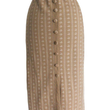 Vintage Pencil Skirt Camel Color with Vertical Pattern Design in Ivory with Button Down Back - High Waist Handmade Design