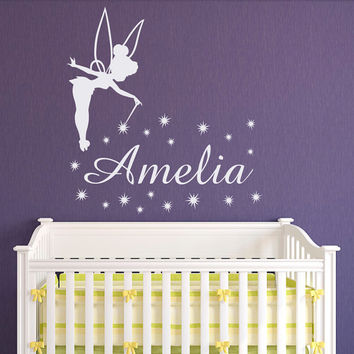 Tinkerbell Name Wall Decal Little Princess Personalized Decals- Girl Name Wall Decal Nursery Decals For Girls Bedroom Nursery Wall Art Q061