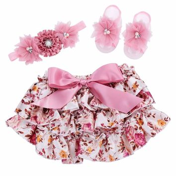 Ruffle Lace Baby Bloomers Diaper Cover and Headband Set,Newborn Tutu Ruffled Panties Baby Girls,Leopard Infant Baby Short,#A0005