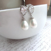 A Rhodium Plated Cubic Zirconia Ear Post, Soft White Shell Pearls Tear Drop Earrings. Bridesmaids Gift, Bride Bridal Wedding. Maid of Honor.