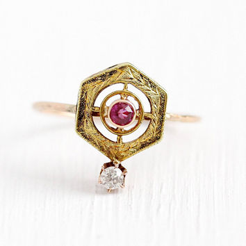 Antique Diamond Ring - Edwardian Era Created Ruby 10k Rose & Green Gold Stick Pin Conversion - Size 6 Vintage Target Wheat Fine Jewelry