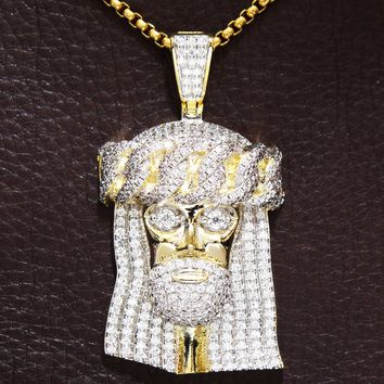 Men's Jesus with Cuban Crown Iced Out Pendant Chain