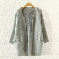 Women Loose Comfortable Soft Gray Cardigan Sweater with Pockets