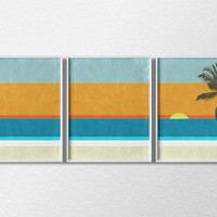 Beach Art, Beach Prints, 3 Piece Print Set, Coastal Wall Art, Home Decor, Modern Home Decor, Beach House Decor