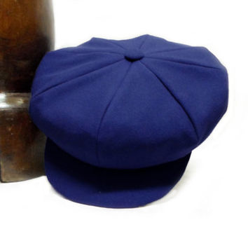 Blue Cotton Newsboy Cap - Pure Cotton Handmade Bakerboy / Apple / Newsboy / Flat Cap - Men Women