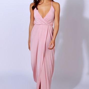 Silky & Sly Lace Up Maxi Dusty Rose
