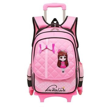 Triple-wheel Trolley Backpack For Children Fashion Wheeled School Bag Detachable Backpack For Girls School Bags