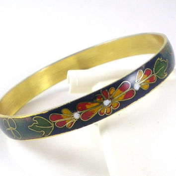 Vintage Blue Green Colorful Hippie Boho Cloisonne  Bangle Bracelet