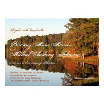 Fall Autumn Trees Leaves Lake Wedding Invitations