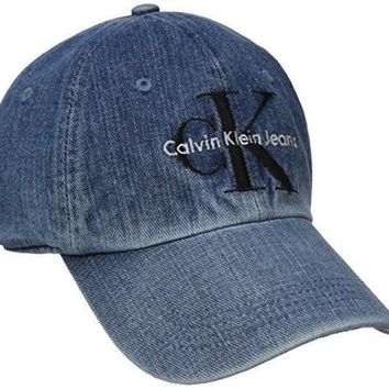 ca kuyou Calvin Klein Jeans Men's Denim Reissue Logo Baseball Dad Hat, Stone Wash, ONE SIZE