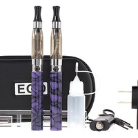 $17.82 EGO-CE4 900mAh Rechargeable E-Cigarette Starter Kit - purple / double e-cigs / 2.0ohm / US plug adapter / irregular pattern at FastTech - Worldwide Free Shipping