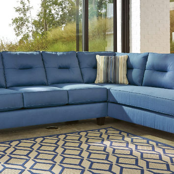 Ashley Furniture 99603-17-66 2 pc Kirwin nuvella blue fabric sectional sofa set with chaise