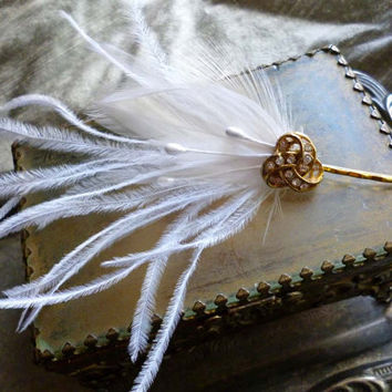 Art Deco Hair Pin - Gold Rhinestone Ostrich White Feather Fascinator Flapper Wedding