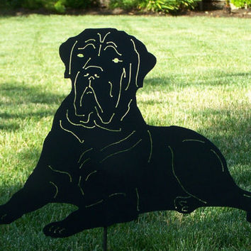 Mastiff dog art garden metal yard art stake sculpture silhouette / dog memorial
