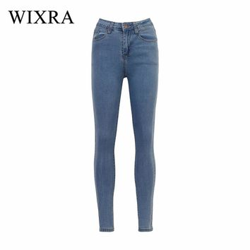 WIXRA Basic Jeans Vintage Mom Fit High Waist Stretched Jeans Femme Women Washed Blue Denim Skinny Jeans Classic Pencil Pants