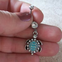Turtle Belly Ring on White Rhinestone Body Jewelry Belly Ring