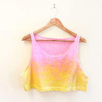 SAMPLE SALE Splash Dyed Hand Painted Slouchy Scoop Neck Cropped Tank in Acid Pink Yellow Sunset - One Size
