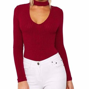 Women's Red Burgundy Ribbed Long Sleeve Bodysuit