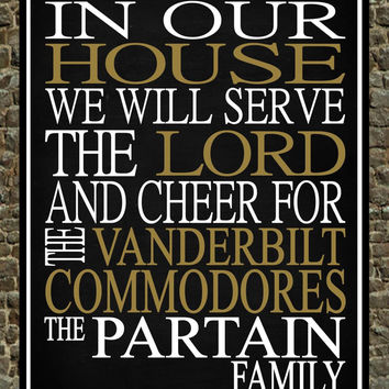 Customized Name Vanderbilt University Commodores NCAA personalized family print poster Christian gift sports wall art - multiple sizes