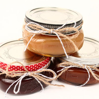 Set of 3 8oz. Jars Homemade Artisan Caramel, Dulce De Leche or Chocolate Sauce Christmas Present, Holiday Gift, Gift Set