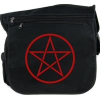 Red Woven Pentacle Cross Body Messenger School Bag Witch Occult