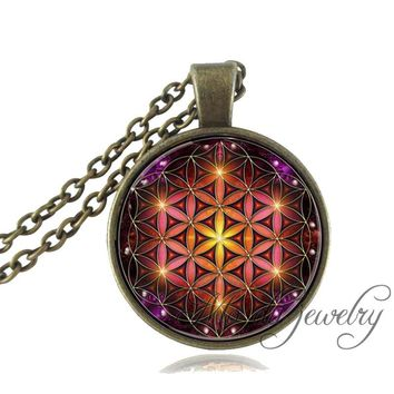 Fashion Flower of Life Pendant Necklace Glass Dome Mandala Art Pendant Choker Spiritual Jewelry Metaphysical Sacred Geometry