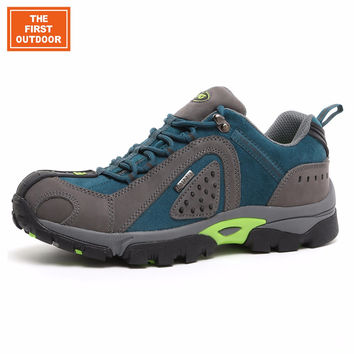 TFO Men Hiking Shoes Walking Shoe Outdoor Sneakers Waterproof Genuine Leather Climbing Shoes Non Skid Hunting Shoes 842609