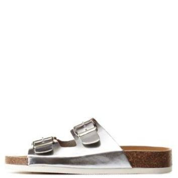 Silver Metallic Footbed Slide Sandals by Charlotte Russe