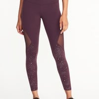 High-Rise Mesh-Panel 7/8-Length Leggings for Women |old-navy