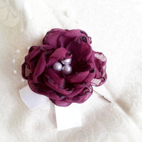 White blackberry purple silver Fabric BOUTONNIERE winter Wedding Pearls HANDMADE flower satin