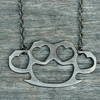 Brass Knuckles Necklace, Silver Brass Knuckles Necklace, Knuckle Dusters, Heart Brass Knuckles, Punk Rock, Rock n Roll, Rocker, Heavy Metal,