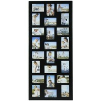 Adeco PF9107-B Decorative Black Wood Hanging Picture Photo Frame, 24 Openings of 4x6 inches
