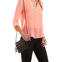 Neon Coral Strappy-Back High-Low Top by Charlotte Russe